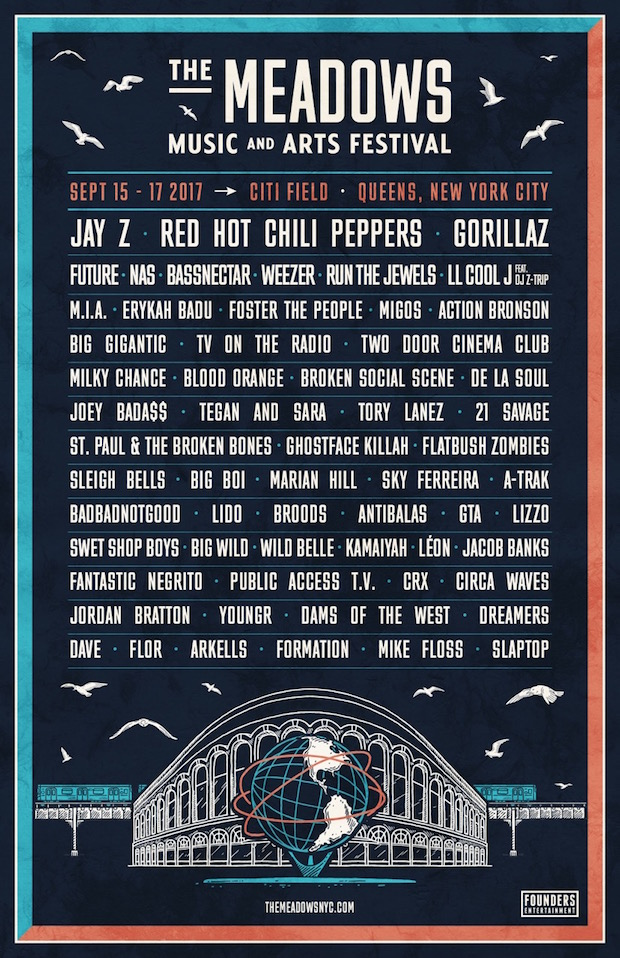 meadows festival 2017 lineup announced feat jay z red hot chili peppers gorillaz future. Black Bedroom Furniture Sets. Home Design Ideas